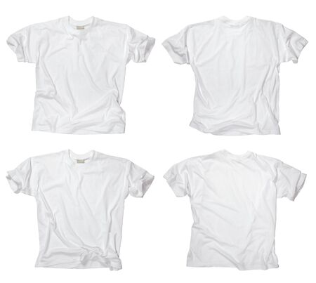 backs: Photograph of two wrinkled blank white t-shirts, fronts and backs.  Stock Photo