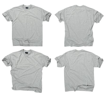 on gray: Photograph of two wrinkled blank grey t-shirts, fronts and backs.  Clipping path included.  Ready for your design or logo.