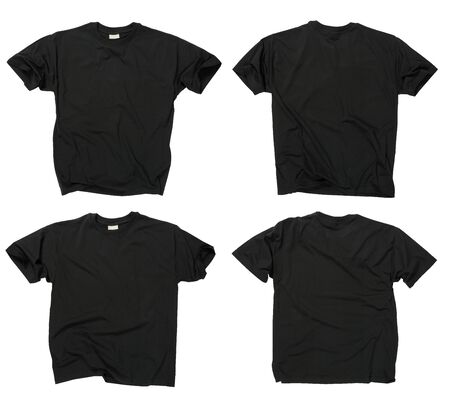 Photograph of two wrinkled blank black t-shirts, fronts and backs.  Clipping path included.  Ready for your design or logo.