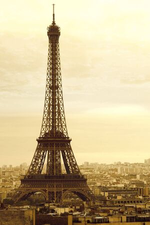 The Eiffel Tower in Paris, France.  Tinted for vintage look.