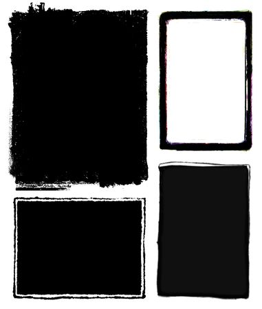 enlarger: Series of four photo borders with rough edges. Stock Photo