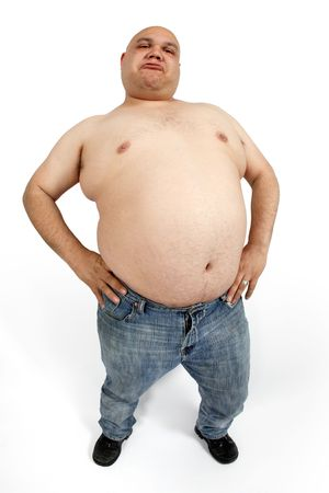 slob: Overweight male - taken with fish-eye lens for exaggerated stomach. Stock Photo