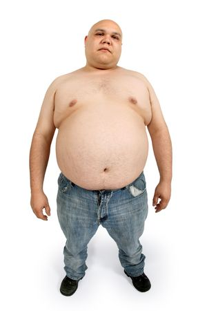 Overweight male - taken with fish-eye lens for exaggerated stomach.  Stock Photo