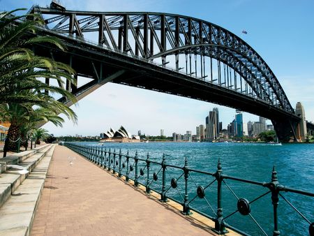 sydney harbour bridge: Walking on the path that leads beneath the Sydney Harbour Bridge in Australia.