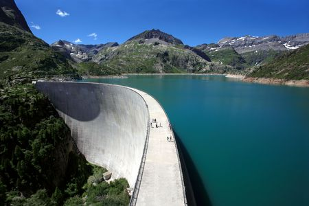 dam: The Emosson hydroelectric Dam in the little Swiss village of Chatelard.  Stock Photo