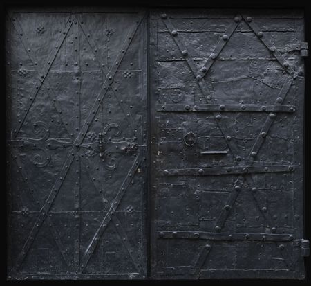 metal structure: Image of black iron gothic security doors. Stock Photo