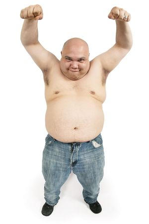 bald ugly: A large bald man with his hands up in the air making an odd face. Stock Photo