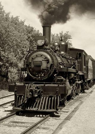 locomotora: Imagen de una vieja locomotora hizo en sepia. Escaneados pel�cula. Foto de archivo