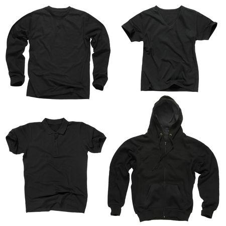 sweatshirt: Foto von vier kantige leere schwarze T-Shirts, Long Sleeve T-Shirt, Golf Shirt, V-Ausschnitt und Hoodie. Clipping-Pfad enthalten. Bereit f�r Ihr Design oder Logo.