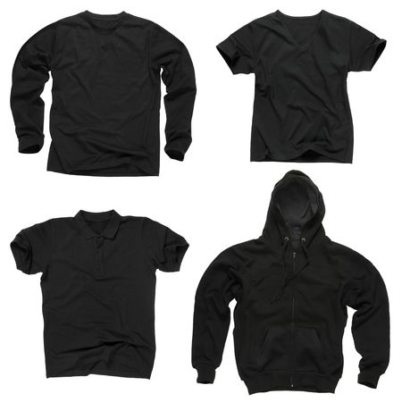 Photograph of four wrinkled blank black shirts, long sleeve shirt, golf shirt, V-neck and hoodie. path included. Ready for your design or logo. Stock Photo