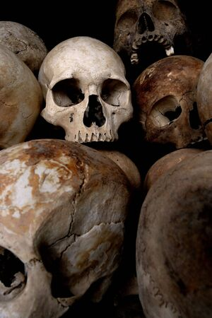 atrocity: A pile of skulls from the Killing Fields in Phnom Penh, Cambodia.