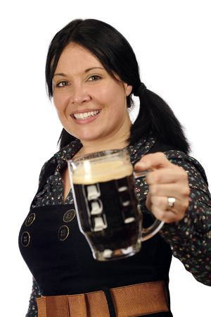 stout: Female serving you a pint of stout. Stock Photo