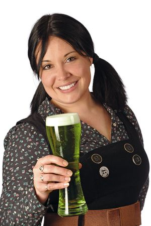 Pretty female with pigtails serving you a pint of green beer on St. Patricks Day. photo