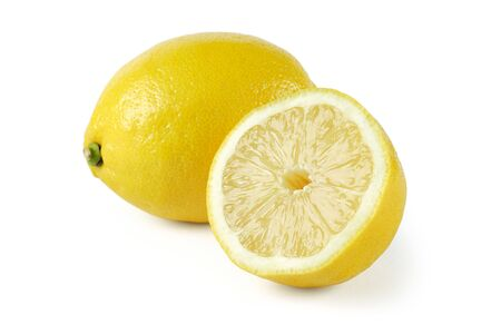 two and a half: Whole lemon and a half isolated on a white background.