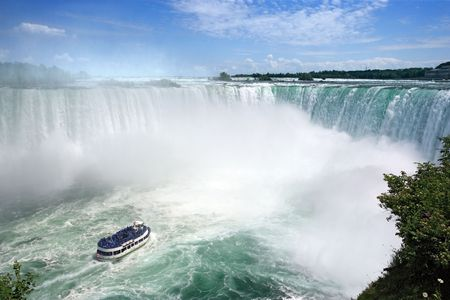 An image of Niagara Falls from the Canadian side. Stock Photo
