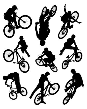 Series of silhouette photographs of bikers doing stunts.  Some motion blur is visible on the wheels and spokes. photo