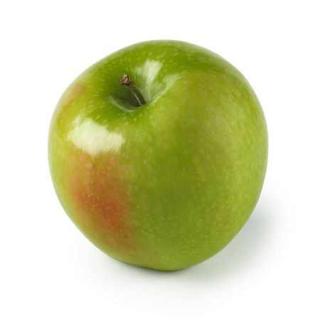 slight: An isolated image of a green apple with slight red section. Clipping included.