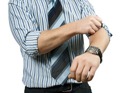 A business person, rolling up his sleeves and getting to work.  Metaphor for starting a business, or getting to work. Stock Photo - 5991645
