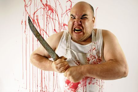 the cleaver: Crazy insane butcher covered with blood.  Harsh lighting for more disturbing feel.