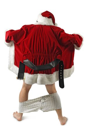 fetishes: Santa Claus opening his coat and flashing.  Stock Photo