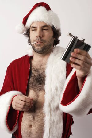 tipsy: A drunk Santa Claus with flask and ripe with bad attitude.