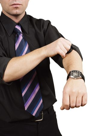 A business person, rolling up his sleeves and getting to work.  Metaphor for starting a business, or getting to work. Stock Photo - 6121179
