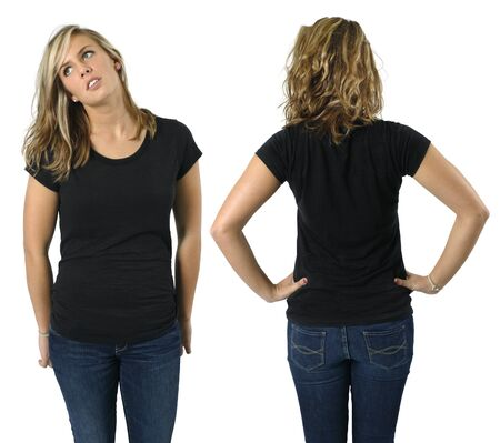 Young beautiful blond female with blank black shirt, front and back. Ready for your design or logo. photo