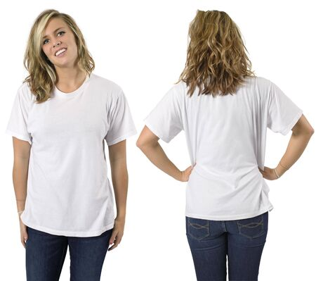 girl shirt: Young beautiful blond female with blank white shirt, front and back. Ready for your design or logo.