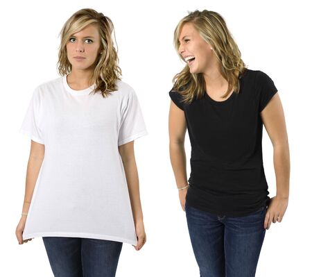 top model: Young beautiful blond female (same female both pictures) with blank black shirt and white shirt. Ready for your design or logo.