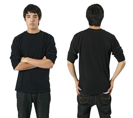 Young asian male with blank long sleeve black shirt, front and back. Ready for your design or logo.