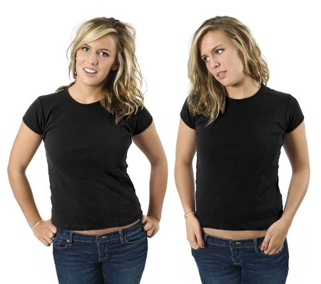 front views: Young beautiful blond female with blank black shirts, front views. Ready for your design or logo.