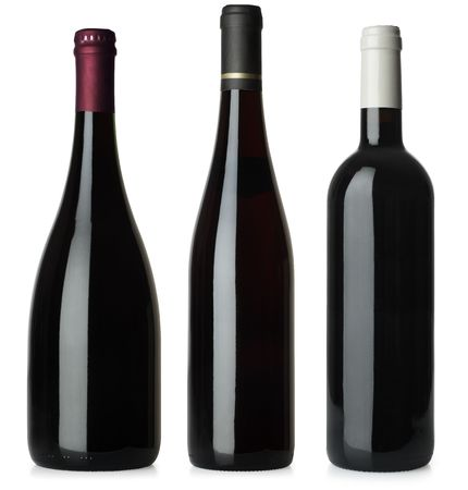 Three merged photographs of different shape red wine bottles.