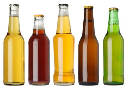 merged: Photo of five different full beer bottles with no labels. Separate for each bottle included. Five separate photos merged together.
