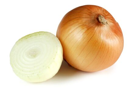 two and a half: two onions, one full with the skin and one sliced in half.