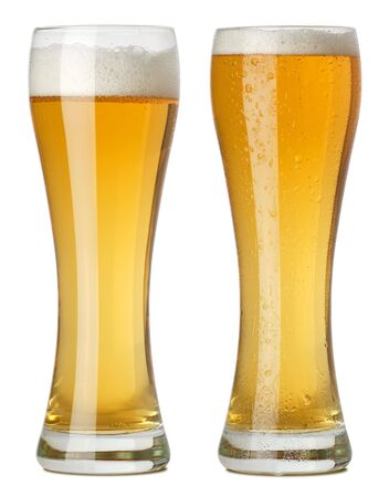 Photo of two tall glasses of beer, one with condensation and one without.  photo