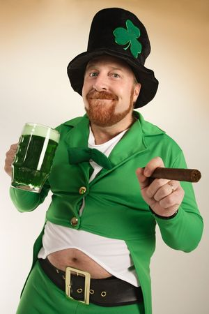 An image of a Leprechaun drinking green beer and smoking a cigar on St. Patrick's Day.