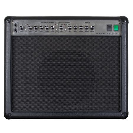 Photograph of the front of a black guitar amplifier.