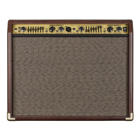Photograph of the front of a guitar amplifier for acoustic guitar.