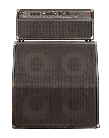 Photograph of the front of a combo guitar amplifier with speaker cabinet. Clipping path included. photo