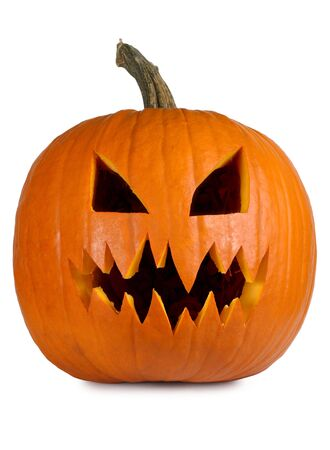 Photograph of a isolated carved evil pumpkin. Stock Photo - 6761517