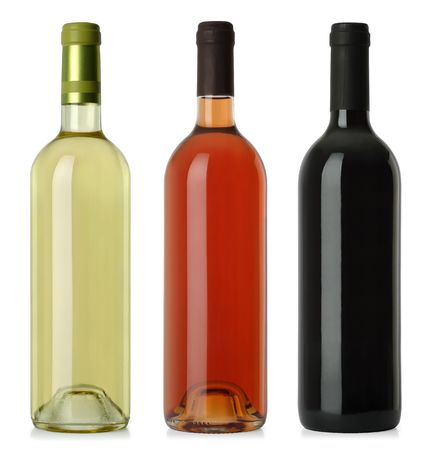 merged: Three merged photographs of white, rose, and red wine bottles.  Separate clipping paths for each bottle included.