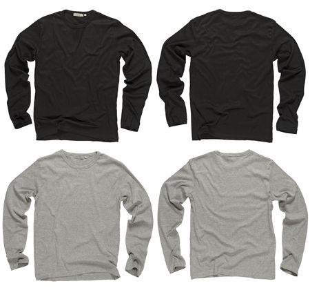 camisa: Fotograf�a de camisas de dos arrugadas en blanco y negro y gris manga larga, frentes y espalda.