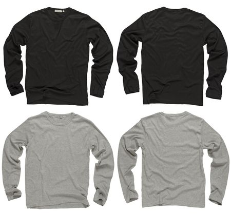 sleeve: Photograph of two wrinkled blank black and gray long sleeve shirts, fronts and backs.  Stock Photo