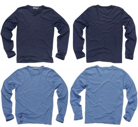 azul marino: Fotograf�a de camisas de dos arrugadas en blanco marina y luz azul manga larga, frentes y espalda.