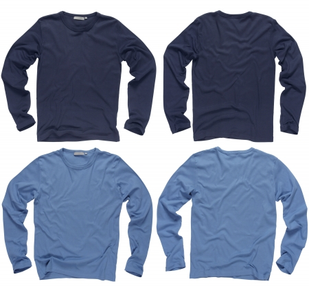 Photograph of two wrinkled blank navy and light blue long sleeve shirts, fronts and backs.   photo
