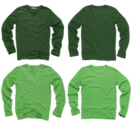 Photograph of two wrinkled blank green and light green long sleeve shirts, fronts and backs.  photo