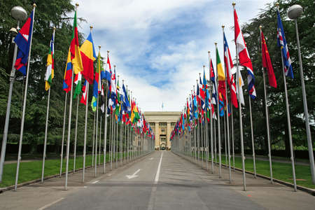 geneva: Photograph of the United Nations entrance and building in Geneva, Switzerland.
