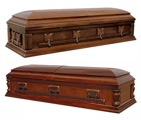 casket: Photographs of two wooden coffins Stock Photo