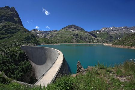 dam: The Emosson hydroelectric Dam in the little Swiss village of Chatelard.