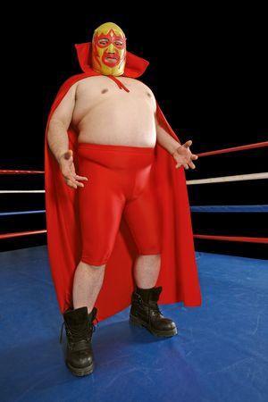 traje mexicano: Fotografía de un luchador mexicano o Luchador permanente en un ring de lucha libre.